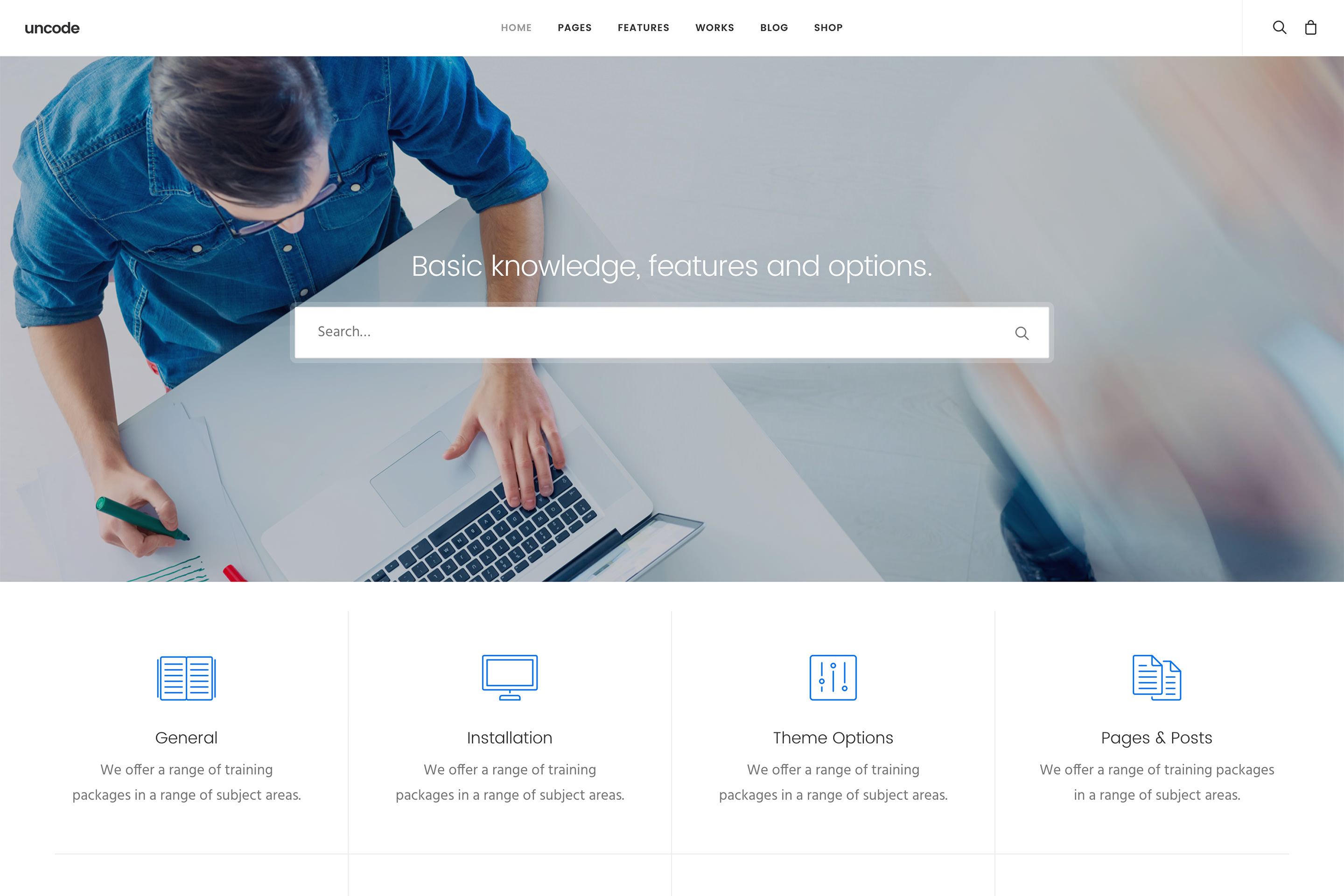 demo content homepage Classic Help Center Uncode
