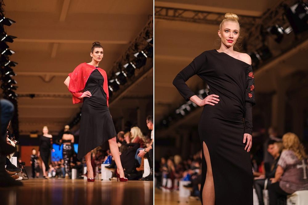modelki w czarnych kreacjach podczas Berlin Fashion Week
