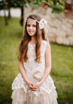 dziewczynka w sukience przed pierwszą komunią świętą